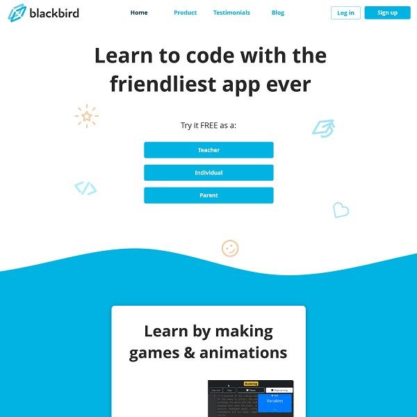 Screenshot of Blackbird's website