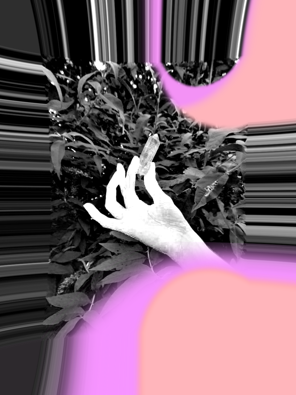 A glitched photo of a hand holding a single quartz crystal, in front of a leavy bush. The photo is mainly black and white, with some pink and apricot accents.