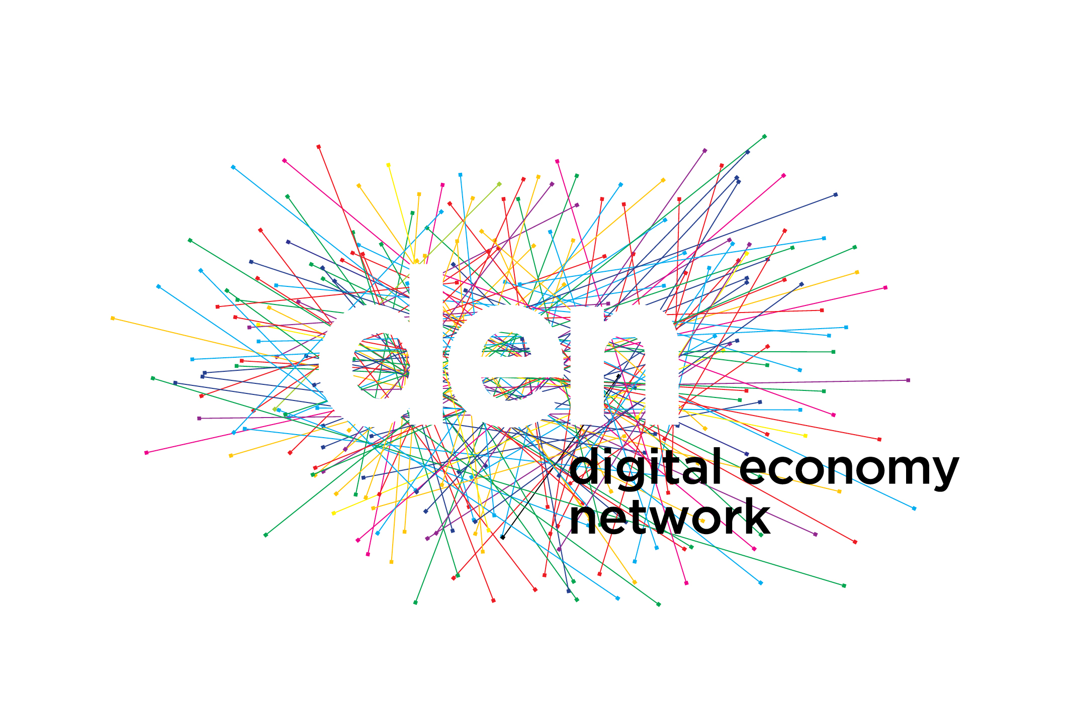 The Digital Economy Network logo. It consists of a network of colorful lines with the letters 'den' in white on top.