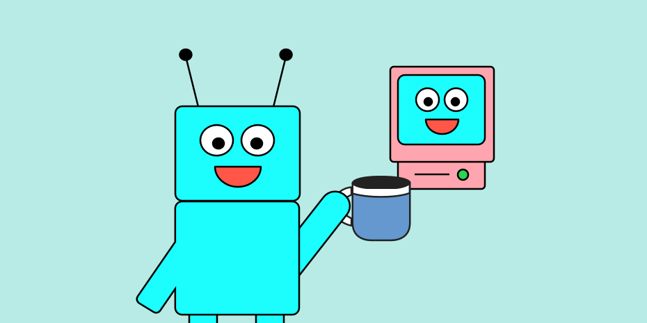 a robot holding a coffee mug and tiny computer screen with a face