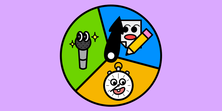 a colorful circle with an arrow in between three sections