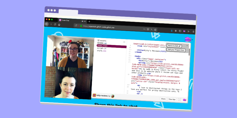 splitscreen of two women pair programming within a Glitch editor