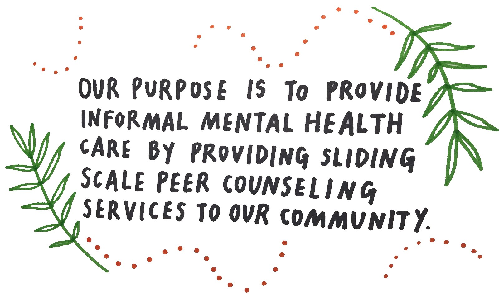 Block of text reading 'Our mission is to provide informal sliding scale mental health counsling to our community'