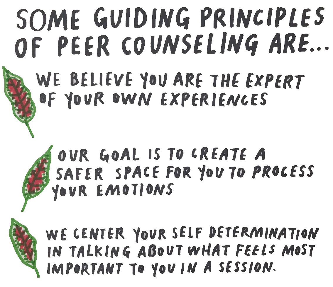 Image listing the three guiding principles of peer counseling with a small leaf bulleting each one.