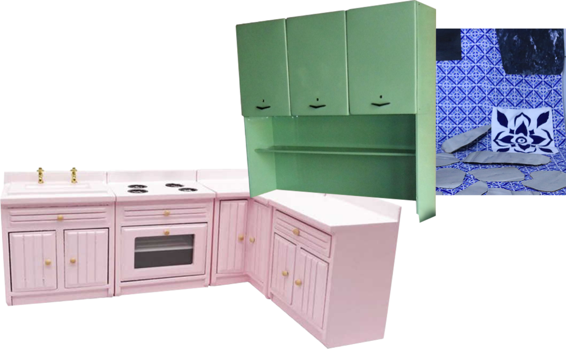 a pink L-shaped cabinet with a sink and stove, a sea green overhead cupboard and shelf, and Portuguese ceramic tiles