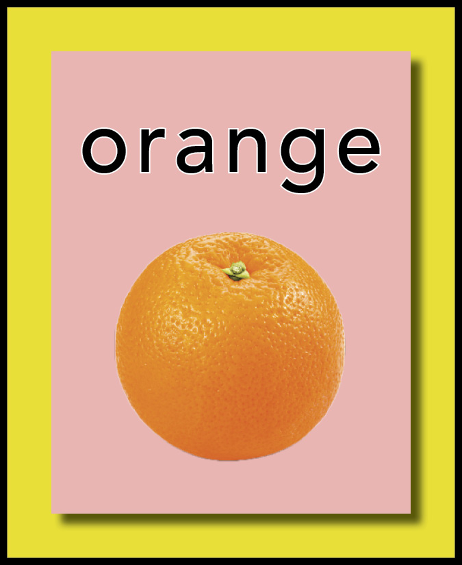 a card with an orange on it in English