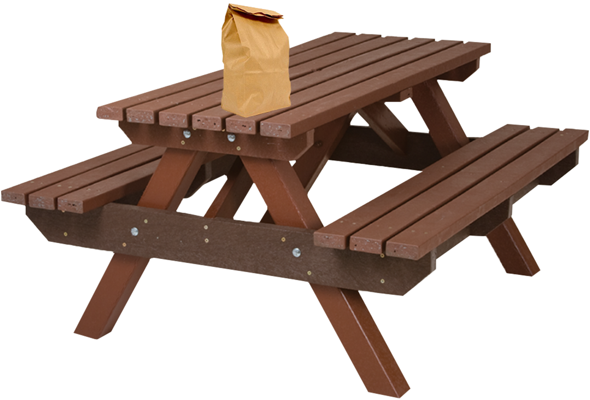 A stuffed brown paper bag sits on top of a chocolate colored picnic bench.