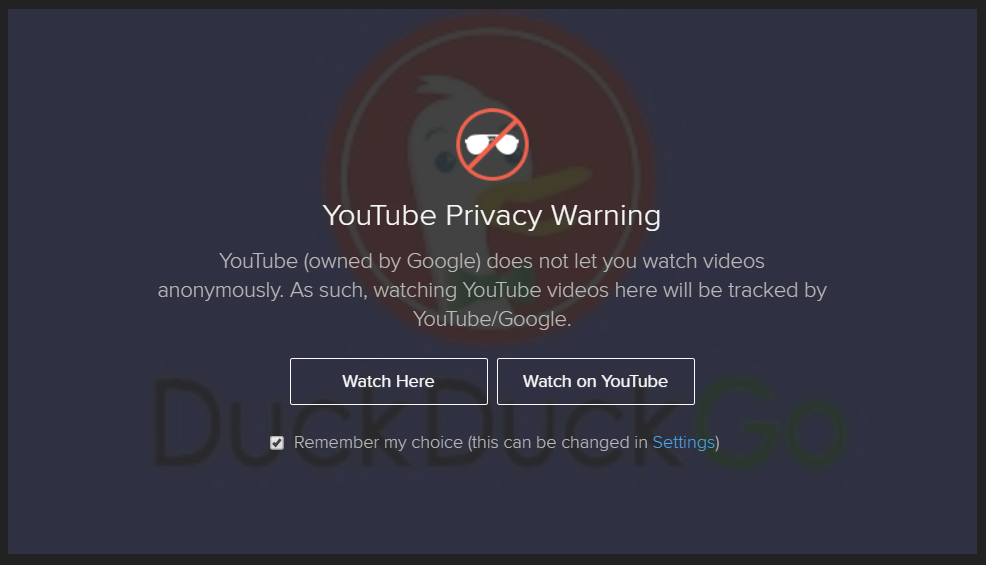 Screenshot of duckduckgo's privacy embed