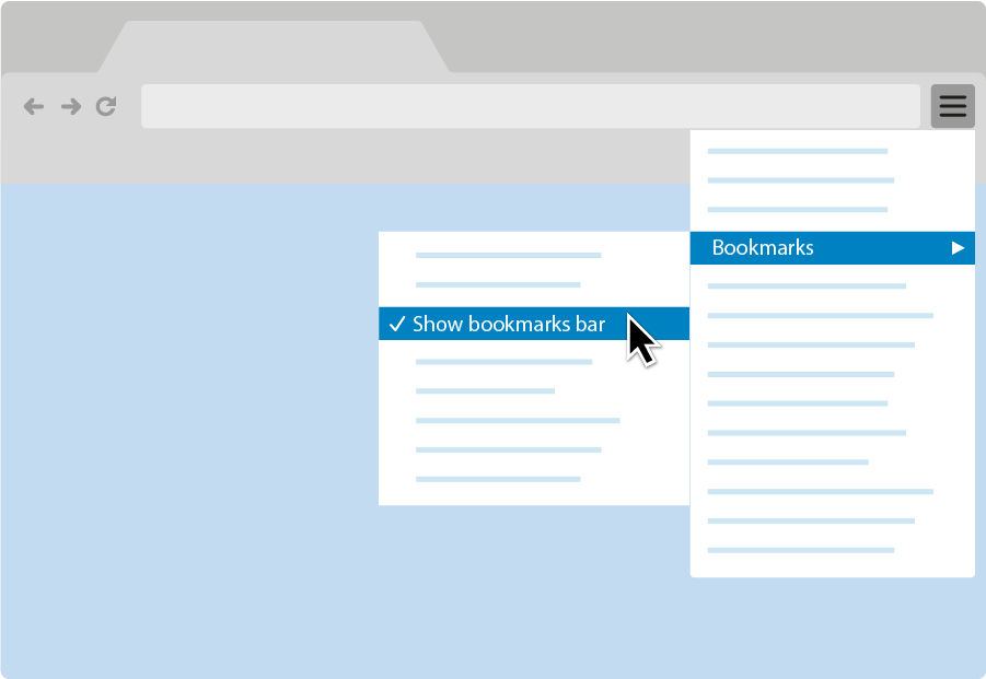 A graphic showing how to turn on the bookmarks bar