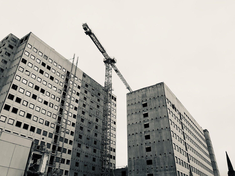 a building, half destroyed