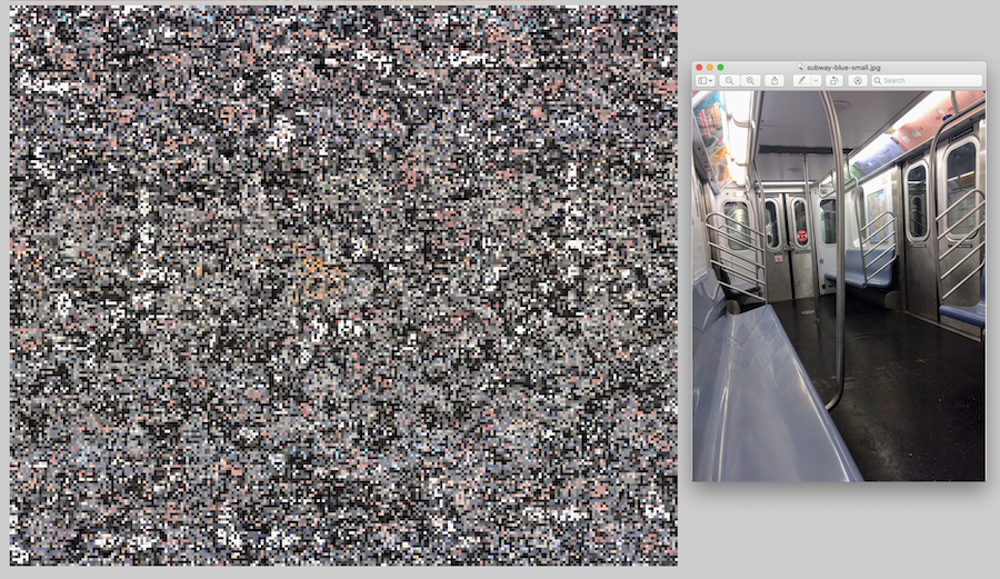 A screenshot of a fractal noise pattern next to a photograph of the inside of a subway train that was used to generate the pattern