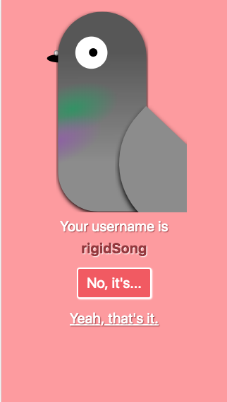 Screenshot of the username selection screen