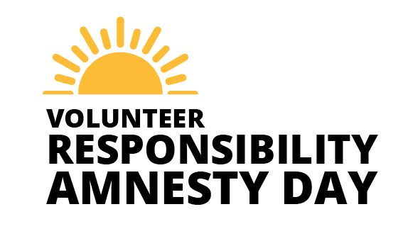 Volunteer Responsibility Amnesty Day logo: a sun at a horizon