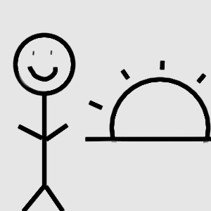 my temporary logo: smiling stick figure next to a sunset