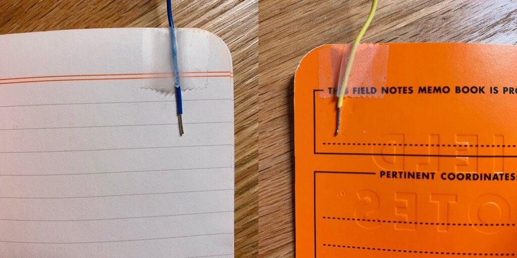 Wires connected to the notebook