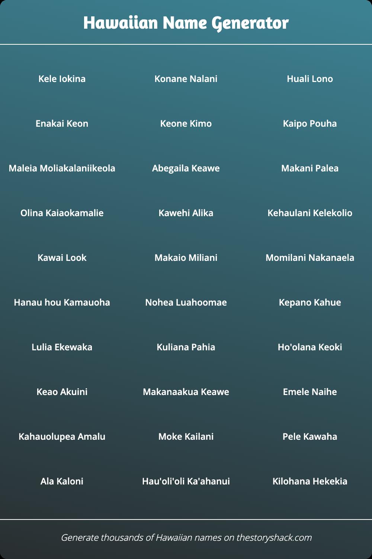 Hawaiian Name Generator   15s of random Hawaiian names