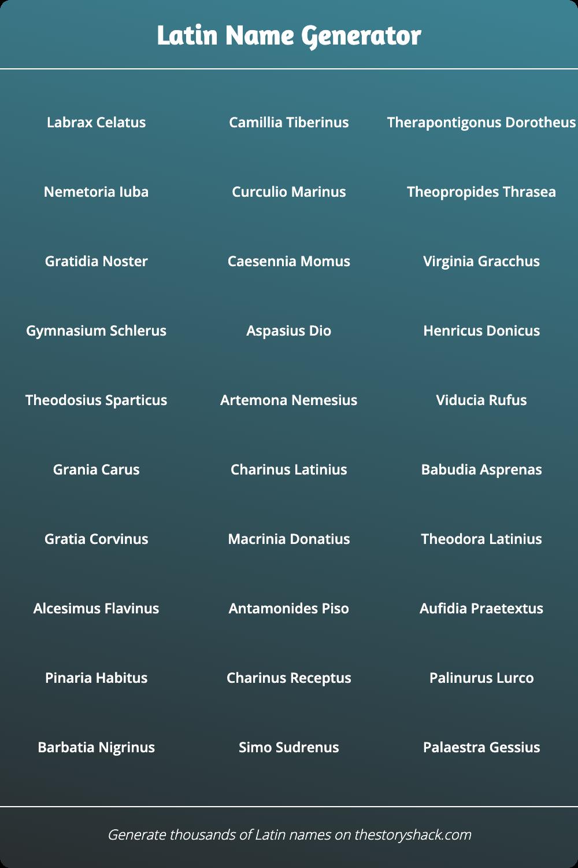 Latin Name Generator | 1000s of random Latin names