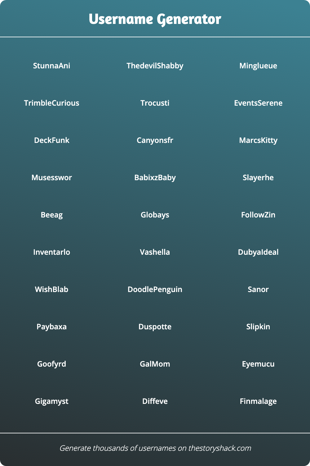 Cool words for usernames