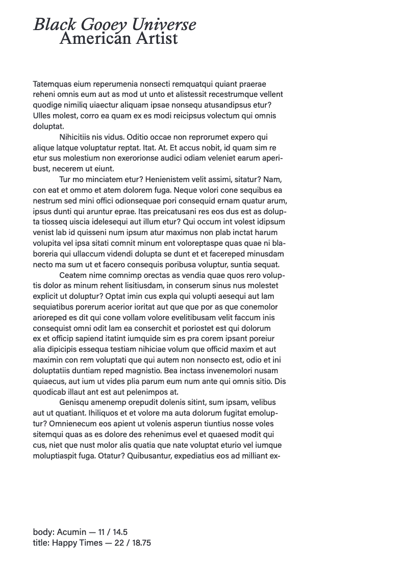 Screenshot of a draft of a page layout, black text on a white background. Title at the top reads 'Black Gooey Universe' with filler text below, in indented paragraphs.