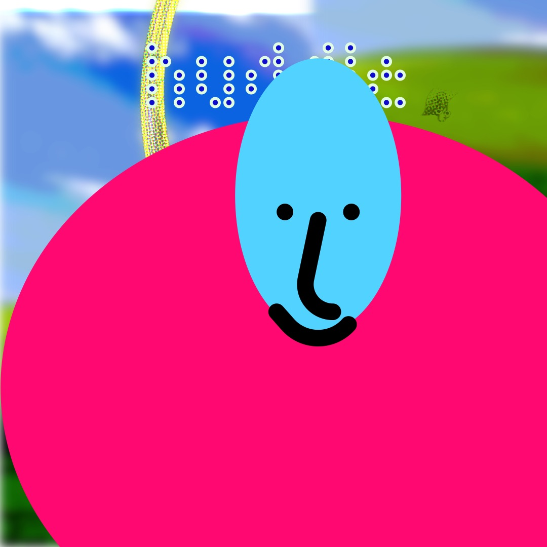 """""""huddle"""" in a dark blue-gray, dotted/pixellated font, outlined in white, above a tall blue smiley face (whose features are outlined in thick black brushstrokes) with a large pink oval as a torso. The background is a duplicated image of rolling hills and a blue sky. Warped images of Clippy flank the word """"huddle"""" to its left and right."""