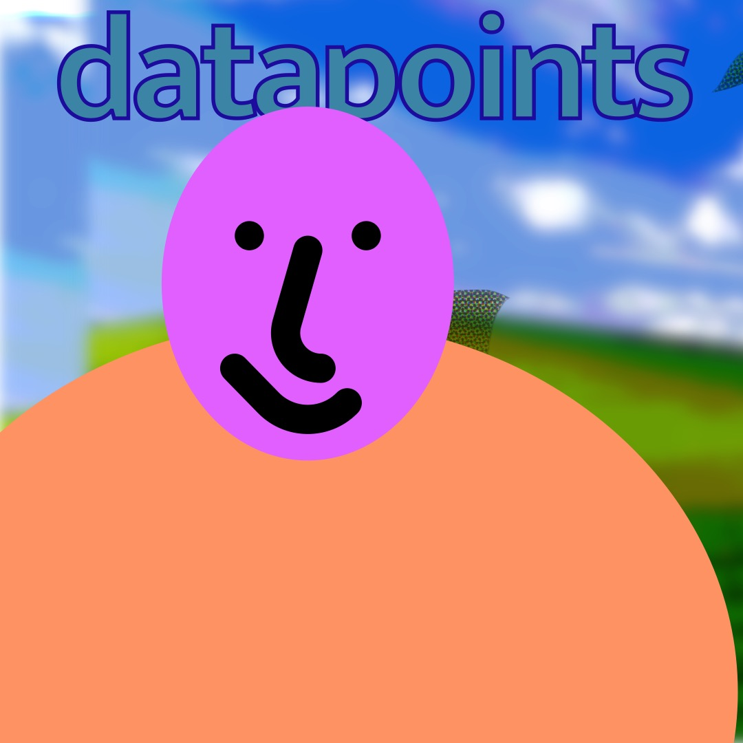 """""""datapoints"""" in teal, outlined dark blue, above a pink/purple smiley face (whose features are outlined in thick black brushstrokes) with a muted orange oval as a torso. The background is a duplicated image of rolling hills and a blue sky. Behind the smiley are squished images of Clippy."""