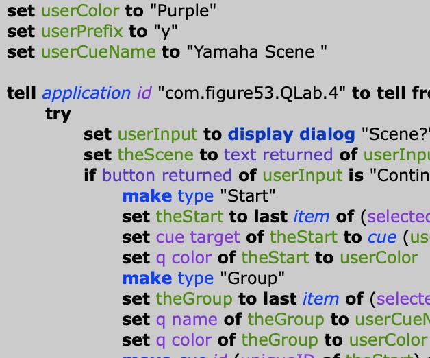 Screenshot of Applescript code