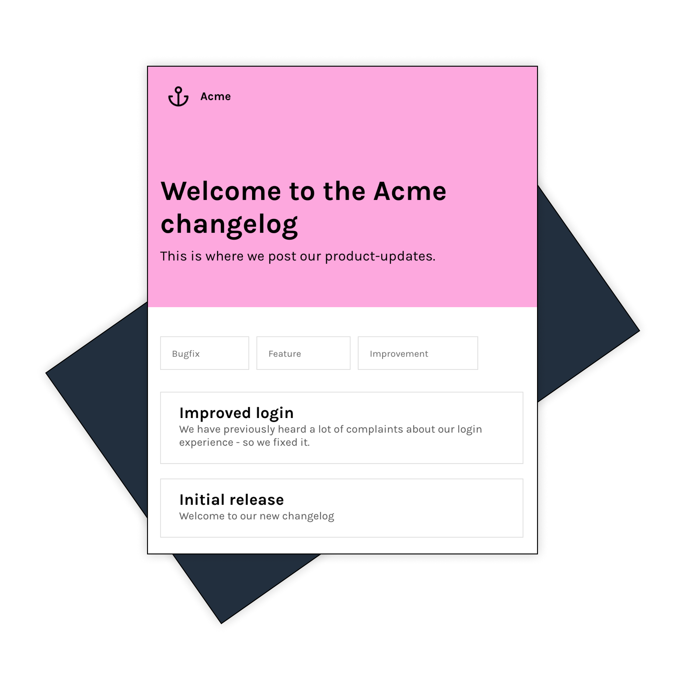 A screenshot of a changes landing page