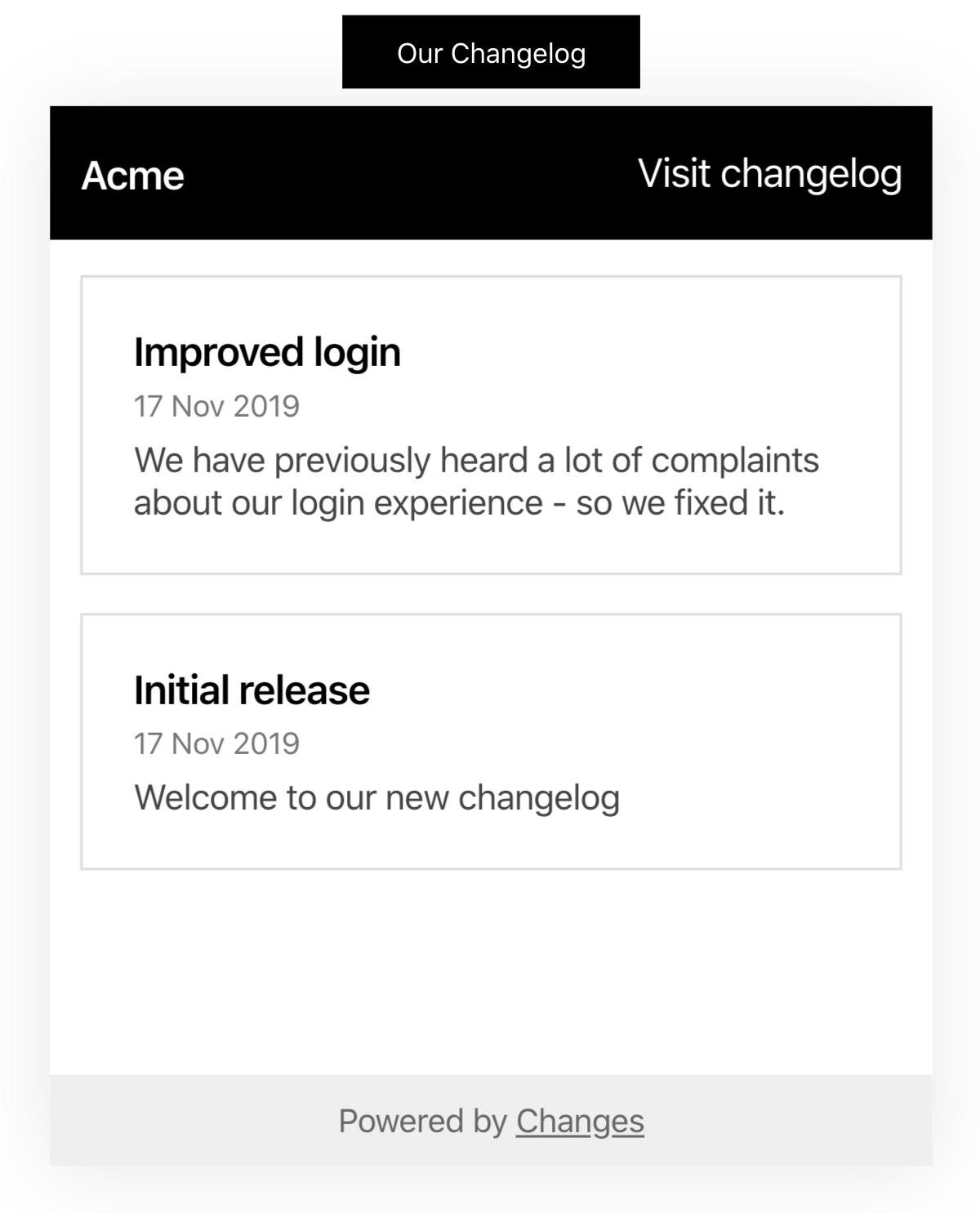 A screenshot of the changelog widget linked to a button