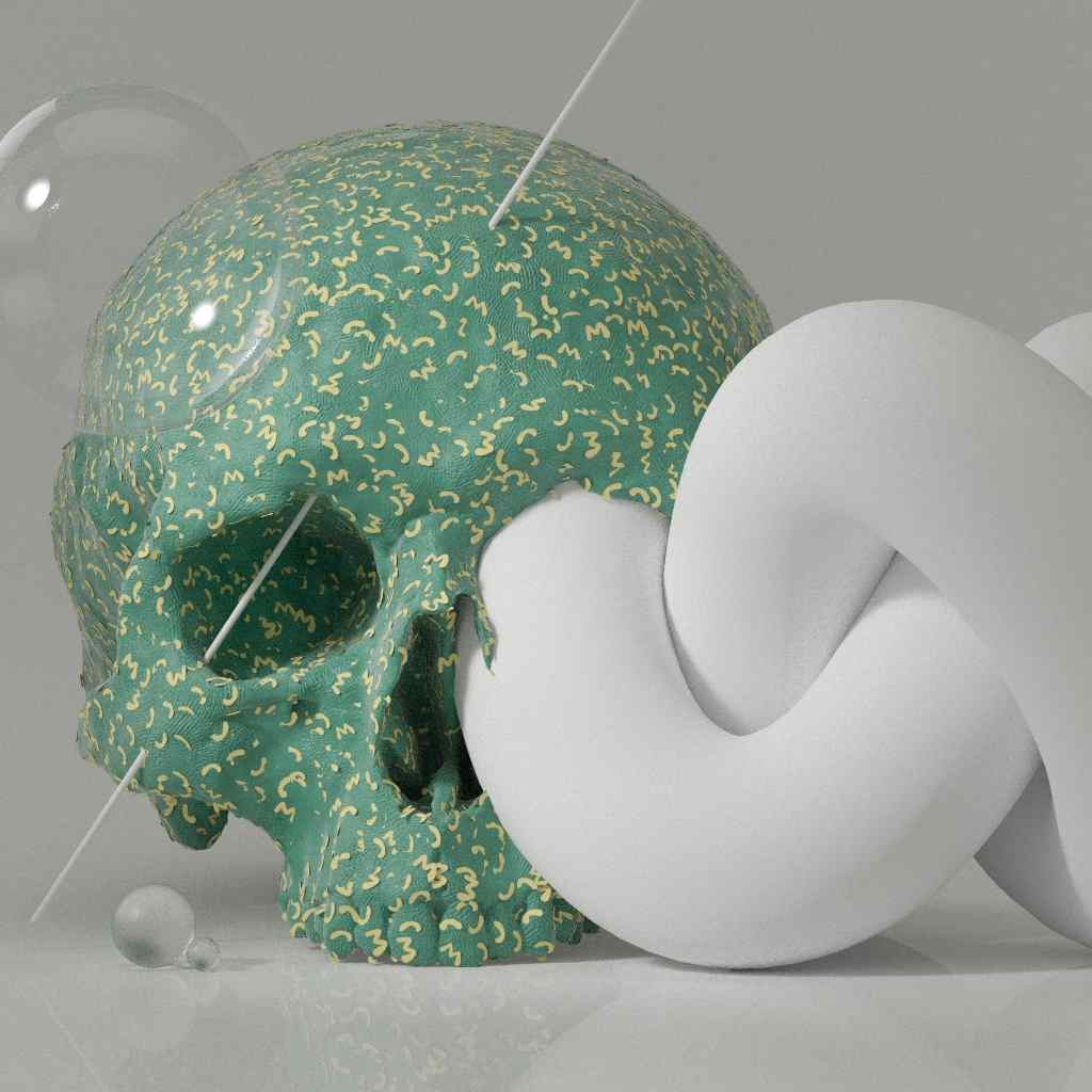 A 3d rendering of a skull