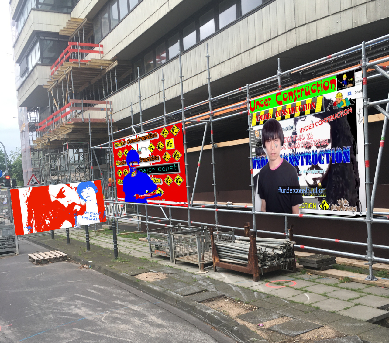 banners in construction site