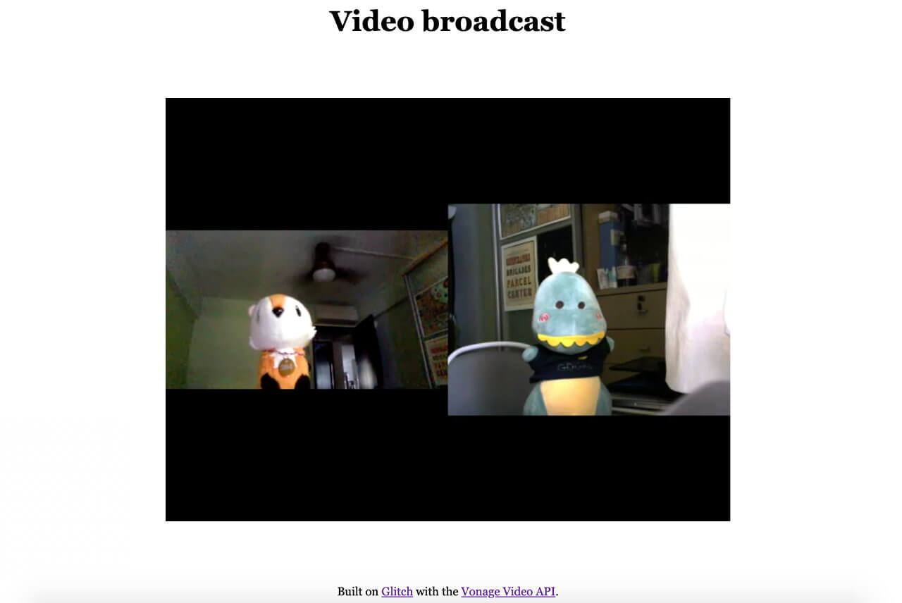 Screenshot of broadcast page