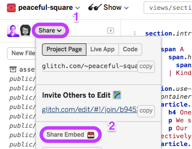 Click the Share button in the editor for a project, then in the menu that opens, click 'Share embed'