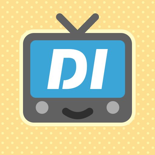 An icon of a cartoonish smiling TV with a blue screen containing white text that reads DI