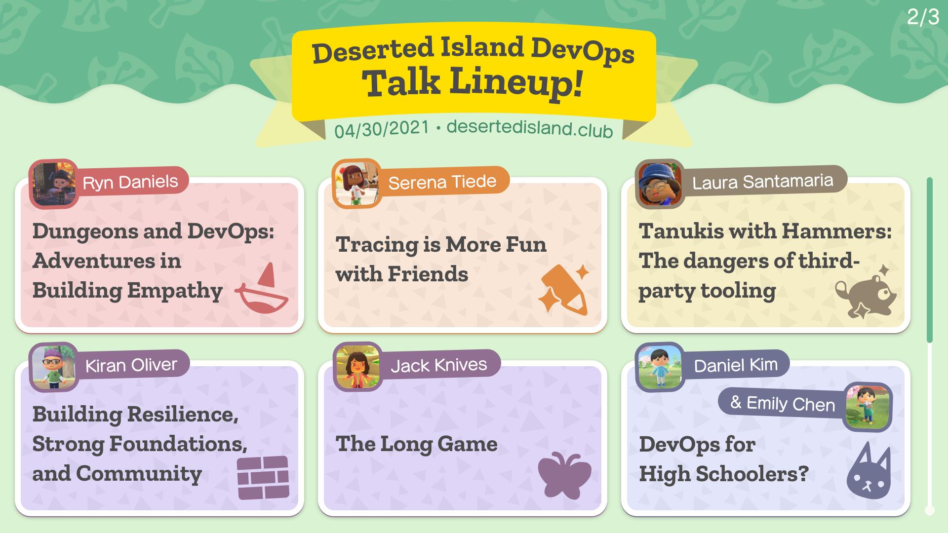 Deserted Island DevOps talk lineup!