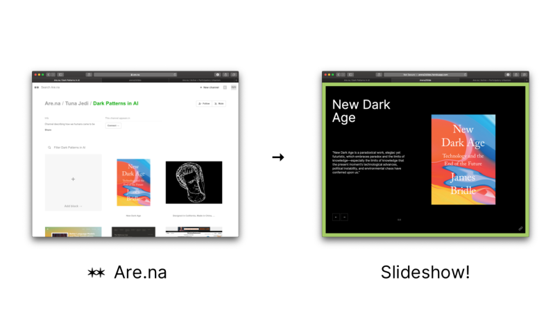 Create a slide show from an are.na collection