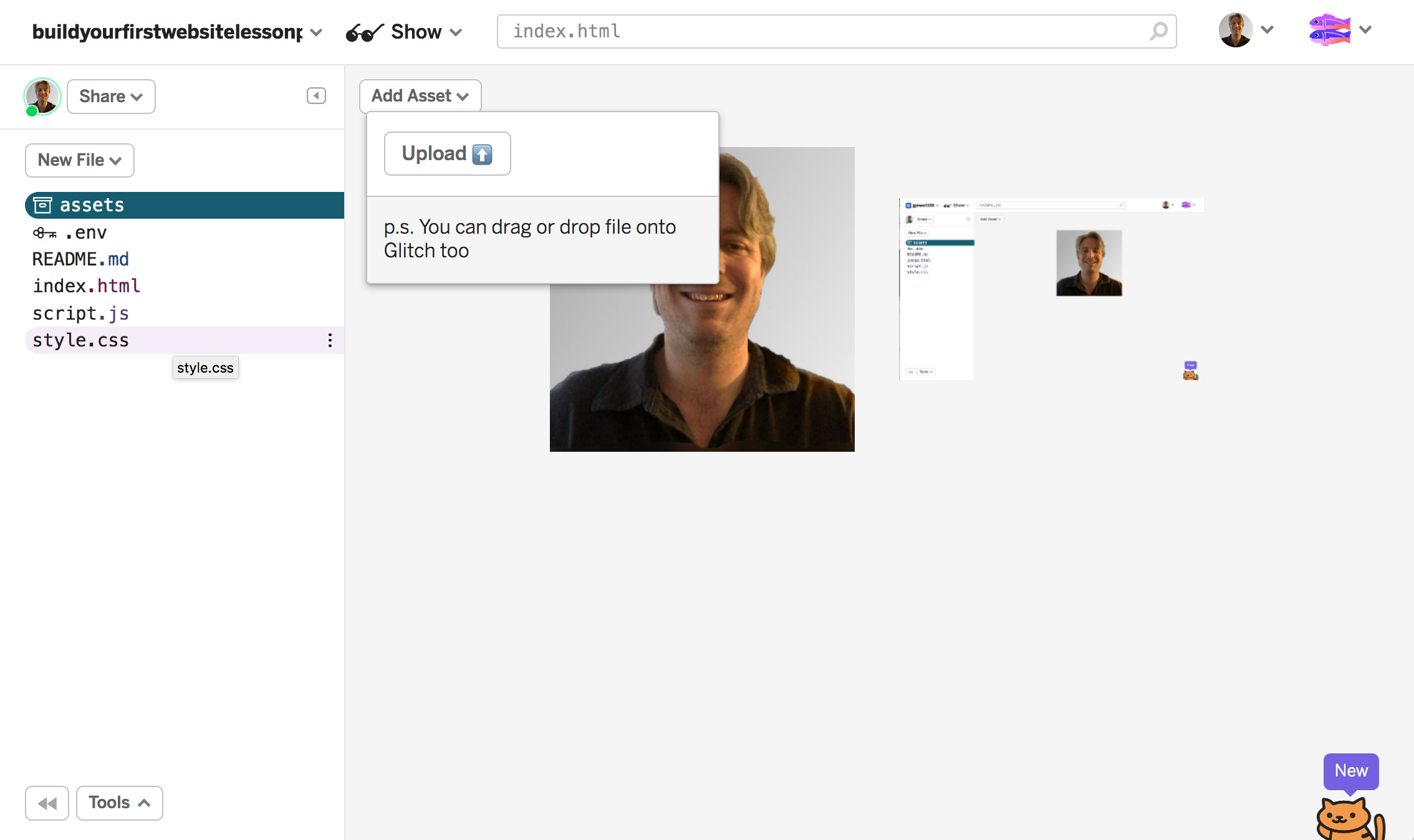 screenshot of hovering over upload