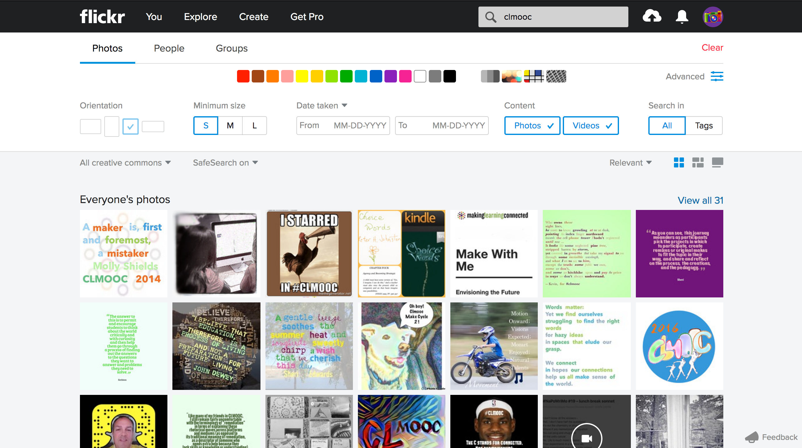 screenshot of creative commons and square image on flickr using advanced search tools