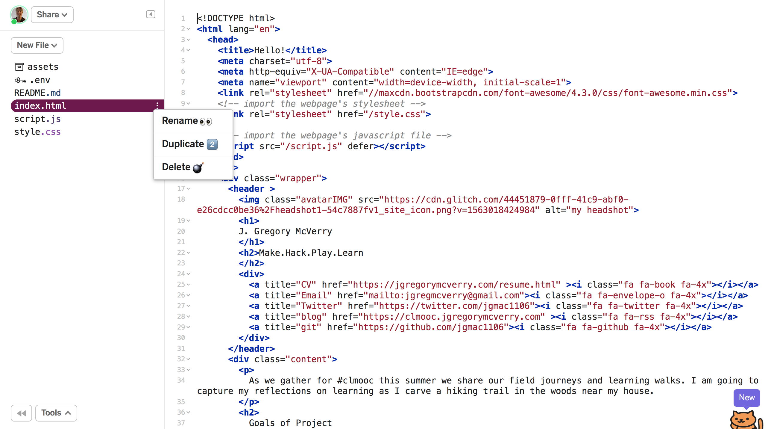 screenshot of duplicating file